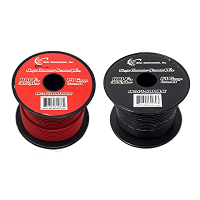 14 GAUGE GA WIRE RED & BLACK 100 FT EACH PRIMARY REMOTE POWER GROUND STRANDED COPPER CLAD: Everything Else