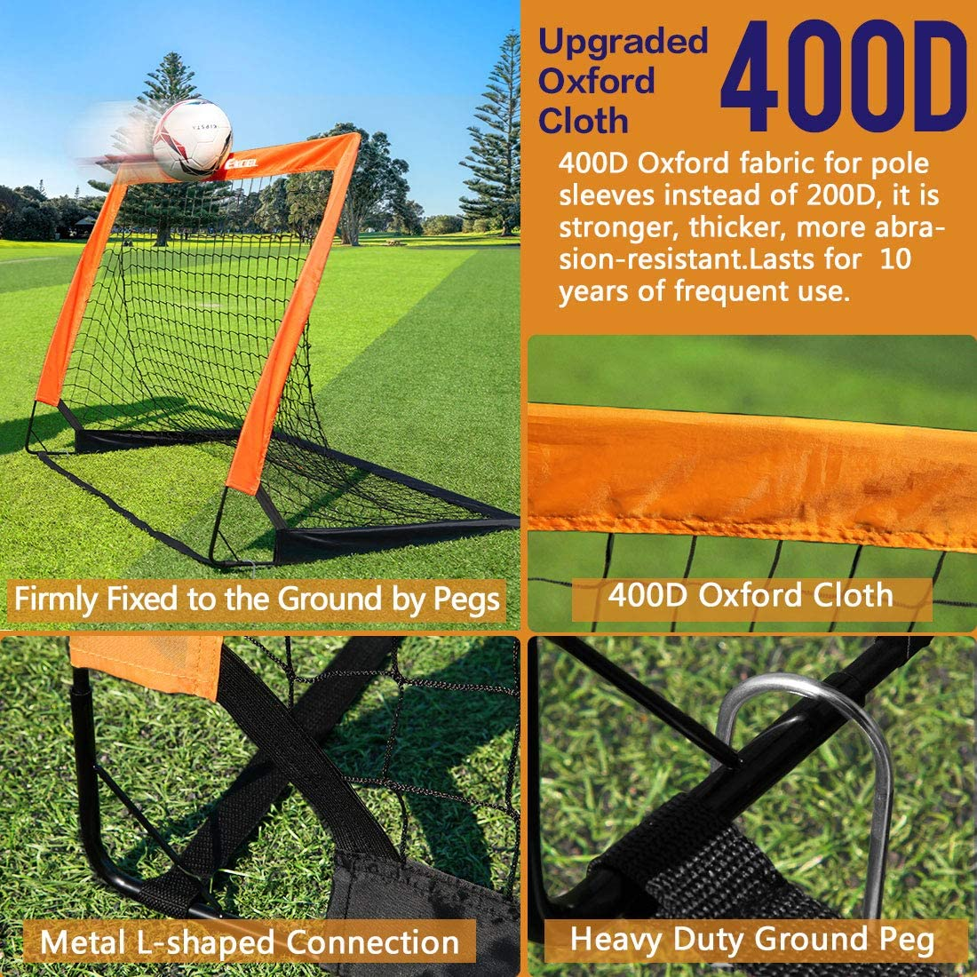 Dimples Excel Soccer Goal Kids Soccer Net for Backyard 4'x3', 1 Pack : Sports & Outdoors