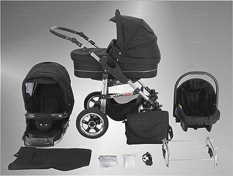 V-LUX4 Kids varigo cochecito Set (Auto asiento, protector de lluvia, mosquitera, Auto asiento adaptador) 93 Schwarz & Graphit