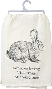 Primitives by Kathy 103070 Rustic Dish Towel, 28 x 28-Inches, Bunnies Bring Blessings of Abundance