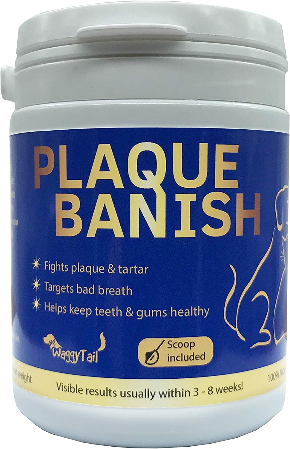 Plaque Banish 100% Natural Plaque Off & Tartar Remover For Dogs & Cats | Freshen Breath For Dogs & Cats | 6.3oz (180g) | Support Healthy Gums & Promote Dental Health | Prevent Plaque & Tartar Build Up