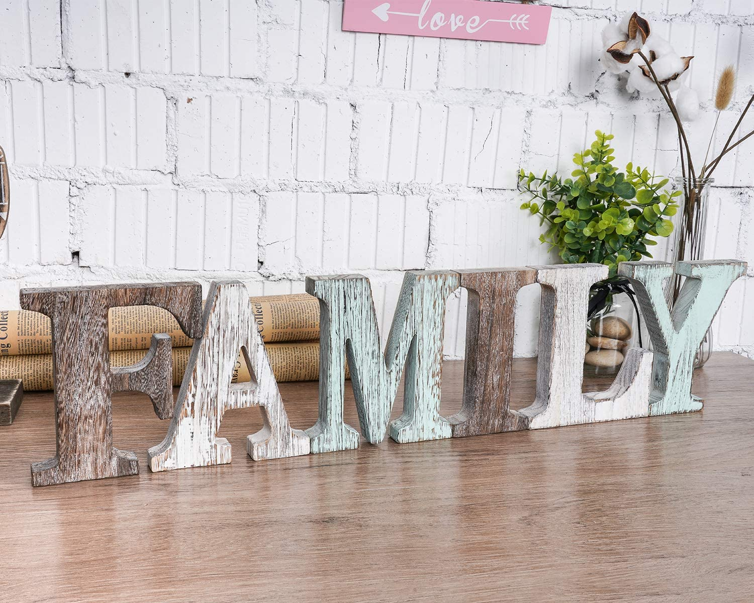 Wood Family Signs Wall Decor, Decorative Wooden Blocks Rustic Letters Cutout Farmhouse Home Decor, Multicolor, Bedroom Kitchen Living Room Table Centerpiece Words, Freestanding with Double Sided Tape