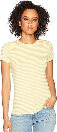 7a200a72 Three Dots Women's Desert Stripe Kennedy Short Sleeve Tight Top Shirt,  Summer Sun, X