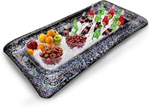 1Pcs [LARGE SIZE] Inflatable Glitter Ice Serving Bar with Drain Plug, Holiday Indoor Outdoor BBQ Picnic Luau Pool Party Supplies for Salad Food Drink Cooler(Black)