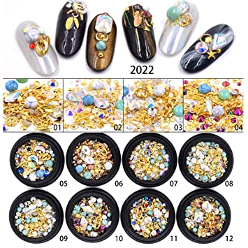 Amazon.com  12 Boxes Mixed Nail Glitter Rhinestones Crystal Jewelry Charms  Gems Metal Shell Flake Rivet DIY Hollow Metal Frame Nail Art Decorations  Gold ... bedea3c441be
