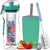 NutriFlask Fruit Infuser Water Bottle -1 litre, Tritan Infusion Unit, Detox Infused Recipes eBook, Bottles Sleeve Cover (Mint)