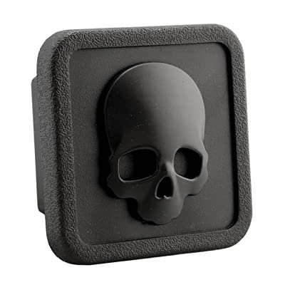 "LFPartS 3D Emblem Trailer Hitch Cover Tube Plug Insert (Fits 2"" Receivers, Skull Bone Black): Automotive"