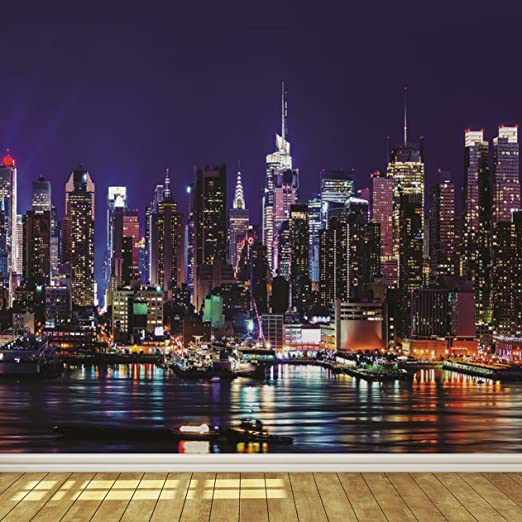 New York City Skyline At Night 7 Wallpaper Mural Amazon Com
