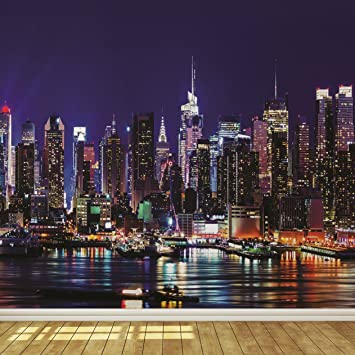 New York City Skyline At Night 7 Wallpaper Mural
