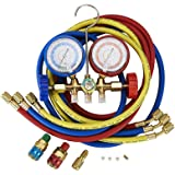 5FT AC Diagnostic Manifold Freon Gauge Set Fits for R134A R12, R22, R502, with Couplers, ACME Adapter for Car A/C System…