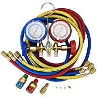 "Professional AC Diagnostic Manifold Gauge Set for R134A, R12, R22 R502 Refrigerants with Couplers and 1/4"" Male to 1/2"" Female Acme Adapter"