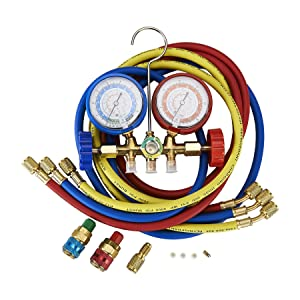OrionMotorTech 5FT AC Diagnostic Manifold Freon Gauge Set for R134A R12, R22, R502 Refrigerants, with Couplers and Acme Adapter