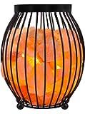 WBM 1345 Himalayan Glow Natural Air Purifying Oval Style Basket Salt Lamp with Salt Chunks, Bulb & Dimmer Control