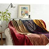 Ujoyen Bohemian Throw Blankets Colorful Chenille Jacquard Tassels Boho Hippie Decorative for Bed Couch Sofa Soft Chair Reclin