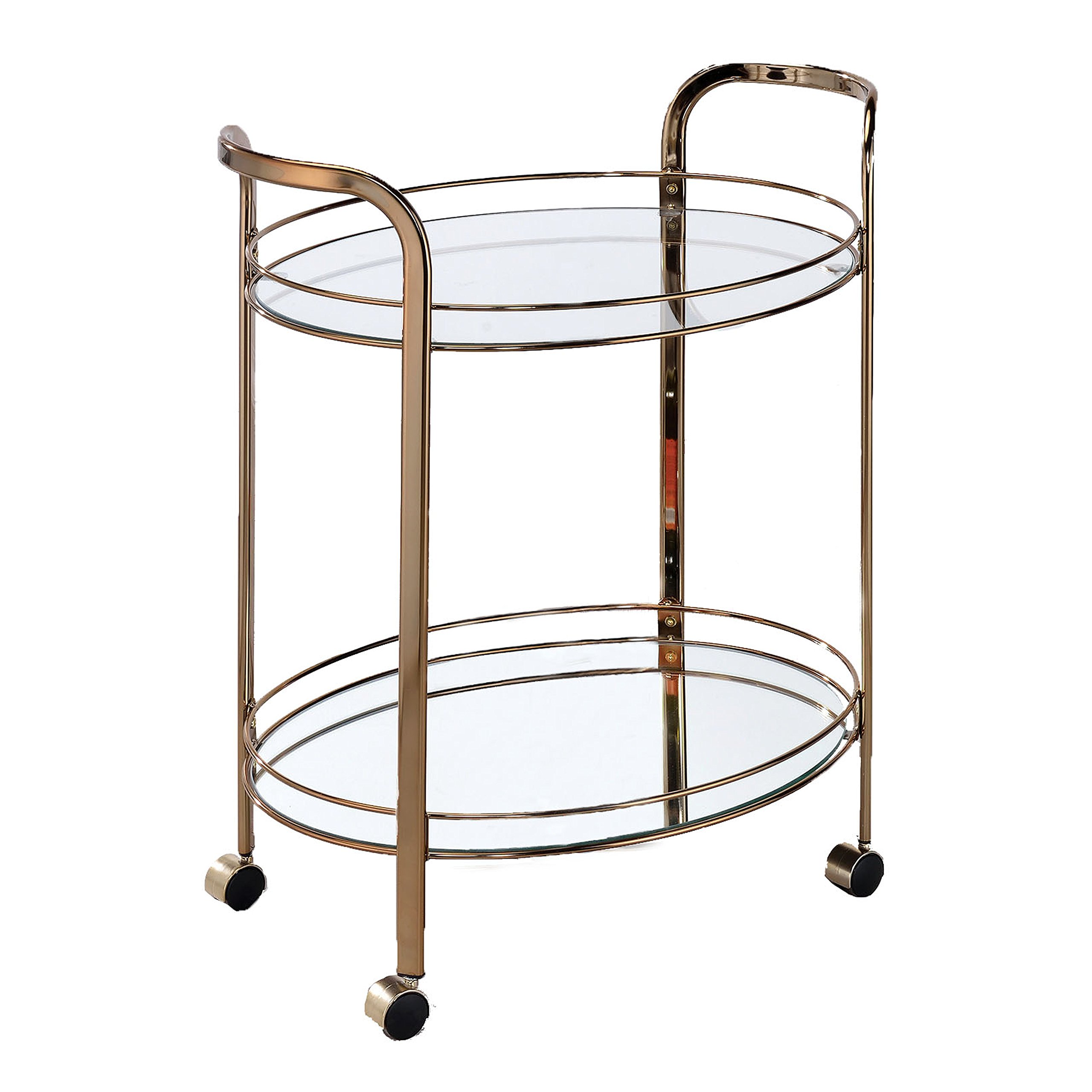 HOMES: Inside + Out IDF-AC236 Mulga Serving Cart Champagne Contemporary