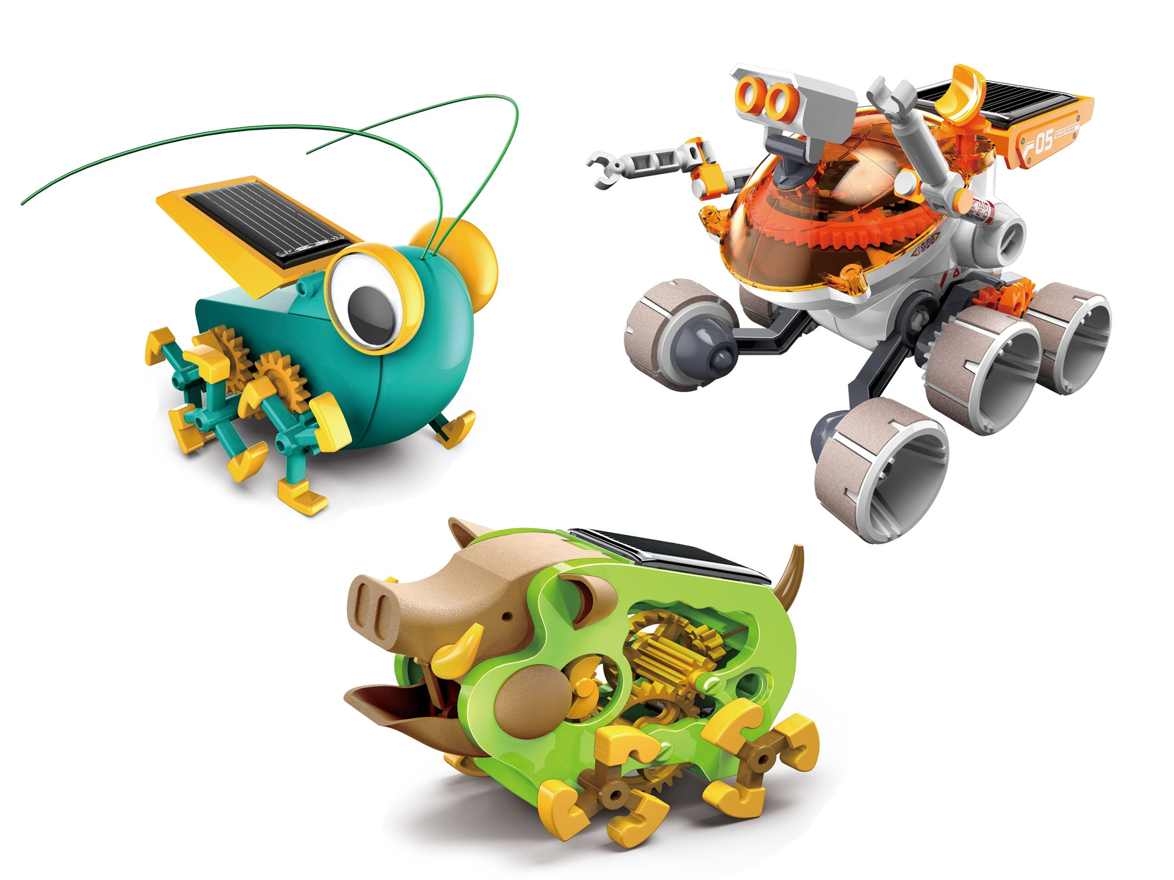 OWI Solar Robot Captain Roam-E-O, Detective Bugsee, and Wild Boar Building Model Kit