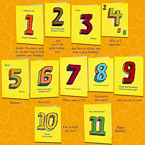Amazon Set of eleven unique birthday cards that countup to – 11th Birthday Cards