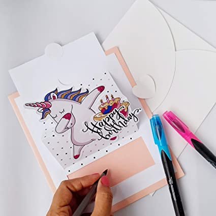 Tarjeta de felicitación para cumpleaños pop-up de unicornio ...