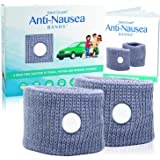 Medi Grade Anti-Nausea Bands - 100% Natural Travel, Motion, and Morning Sickness Relief - Set of 2 Wearable Acupressure Wristbands for Drug-Free Nausea Relief - One Size Fits All - Grey