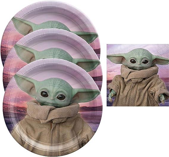 Baby Yoda Mandalorian Party Supplies Paper Plates Dessert Napkin Star Wars