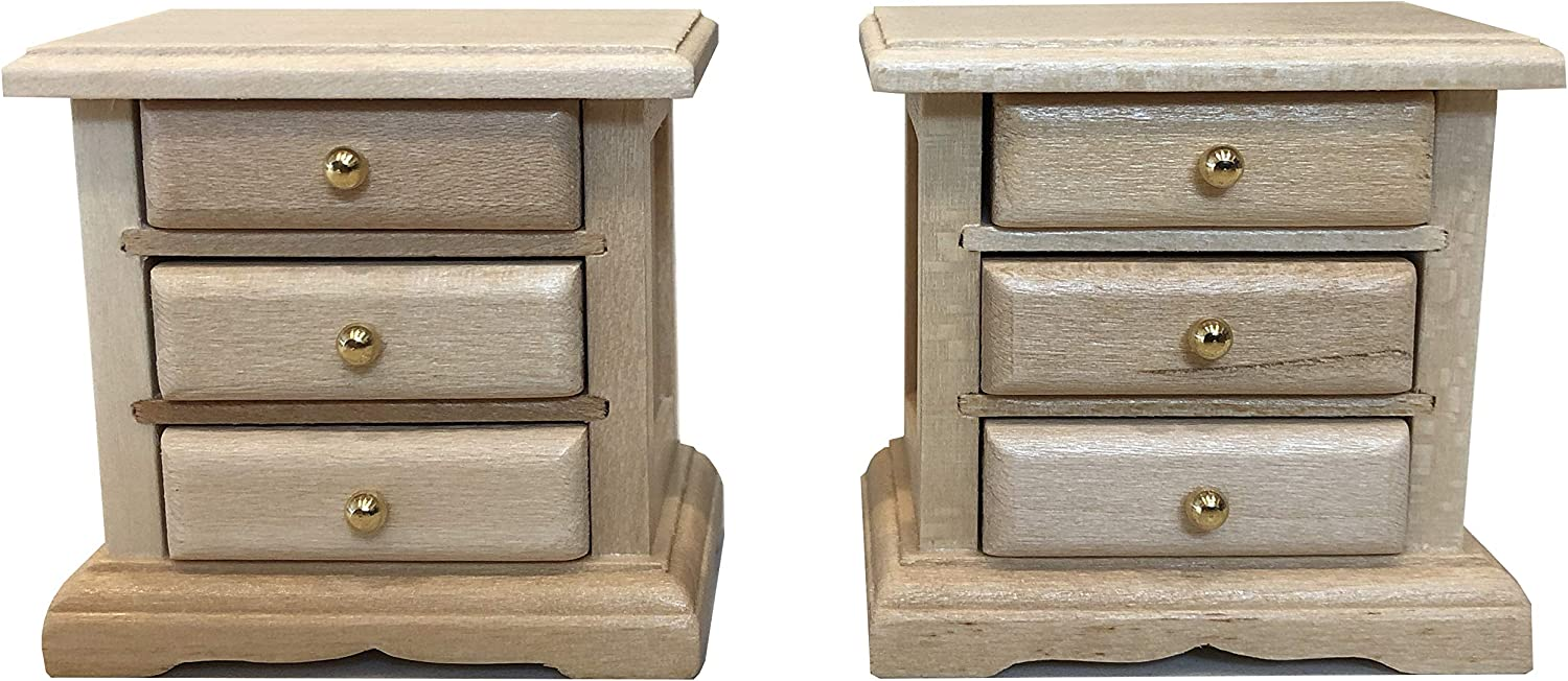 Inusitus Wooden Dollhouse Night Stands | Set of 2 | Bedside Tables | Dolls House Furniture | 1/12 Scale (Light)