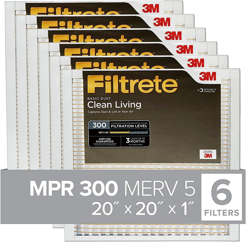 exact dimensions 15.81 x 23.81 x 0.8 Clean Living Basic Dust AC Furnace Air Filter 6-Pack Filtrete 16x24x1 MPR 300