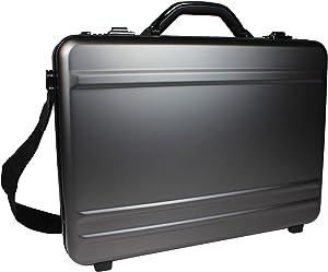 World Traveler European-Style Gun Metal Aluminum Laptop Attache Case, Silver, One Size