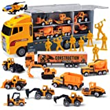 JOYIN 11 in 1 Die-cast Construction Truck Vehicle Car Toy Set Play Vehicles in Carrier Birthday Gifts for Over 3 Years…