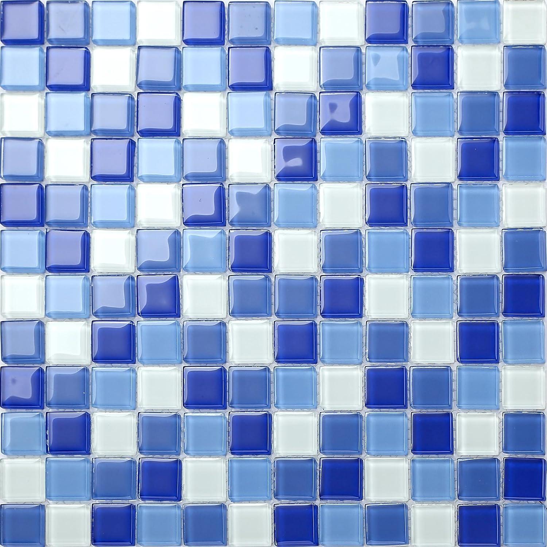 Mosaico de azulejos de cristal trasparente en baldosas, azul y blanco Revestimiento para las paredes. La baldosa es de 30 cm x 30 cm (MT0081). Grand Taps