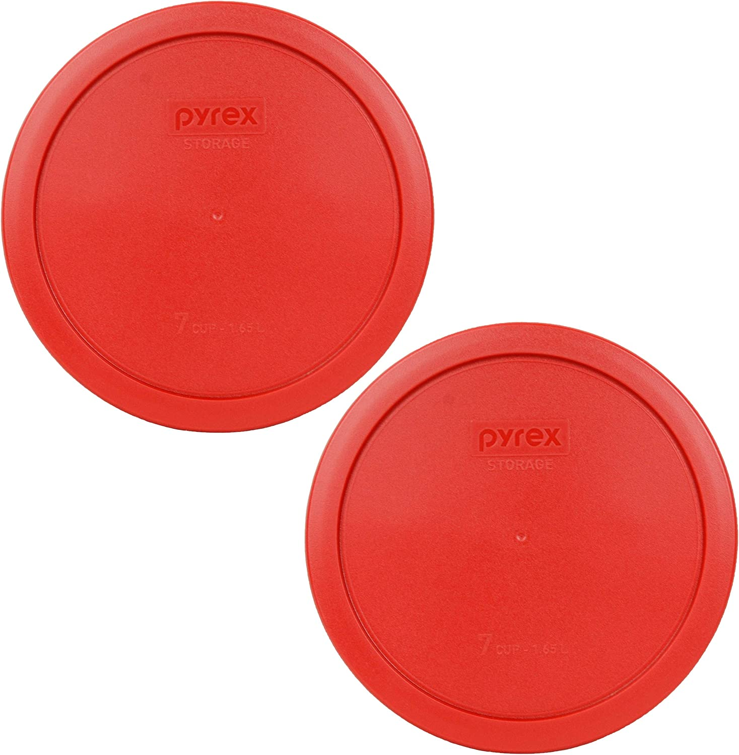 Pyrex 7402-PC 6/7 Cup Poppy Red Round Plastic Food Storage Lid - 2 Pack