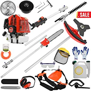 5 in 1 52cc Petrol Hedge Trimmer Chainsaw Brush Cutter Pole Saw Outdoor Tools Garden Tool Gas String Trimmer Included Brush Cutter, Pruner, Strimmer, Hedge Trimmer and Extension Pole