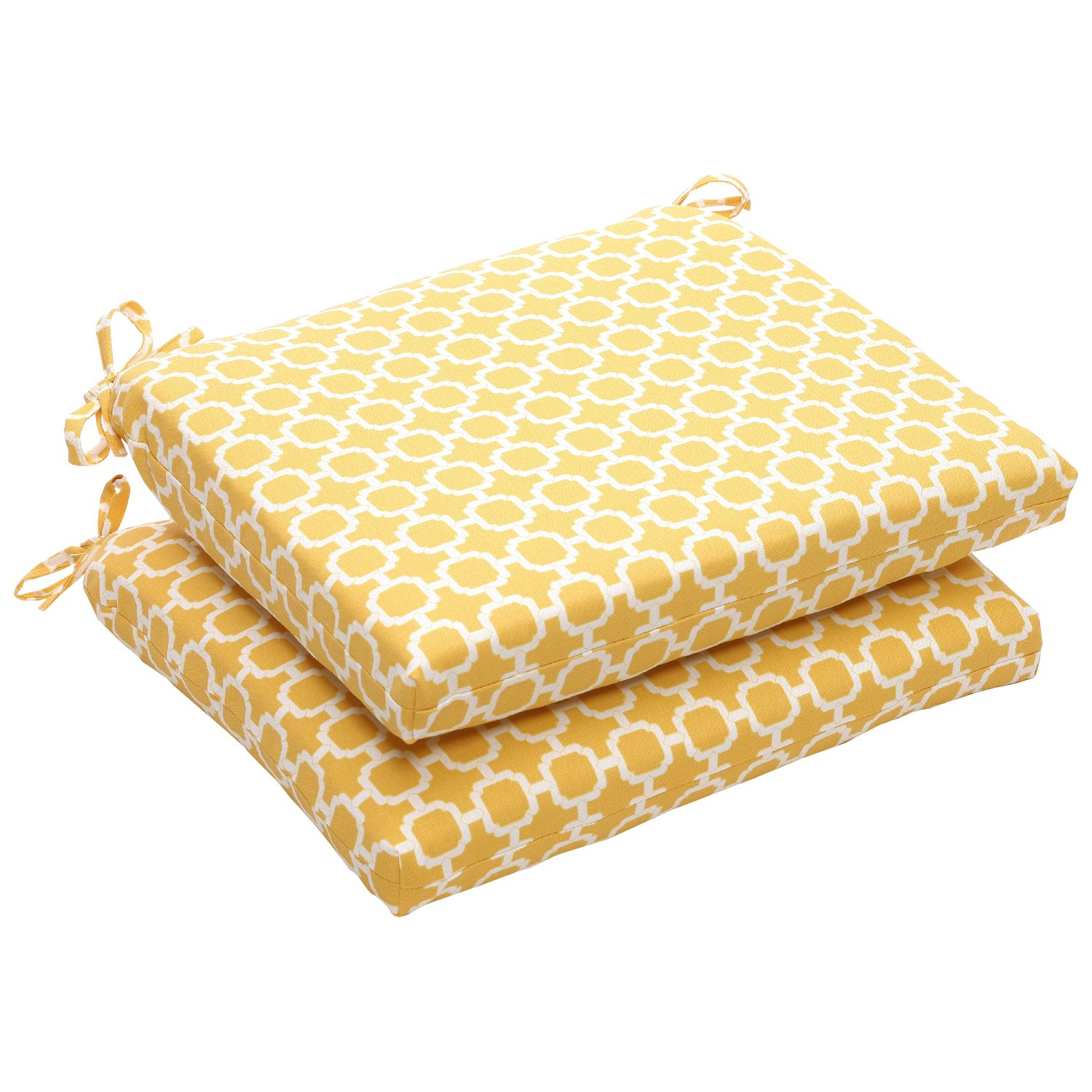 Pillow Perfect Indoor Outdoor Yellow White Geometric Square Seat Cushion, 2-Pack