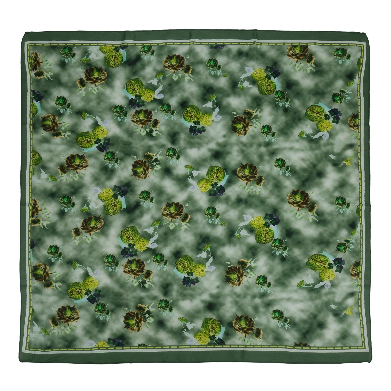 The Scarf Hut New Style Accessories Green Floral Pure Silk Square Scarf Wraps.