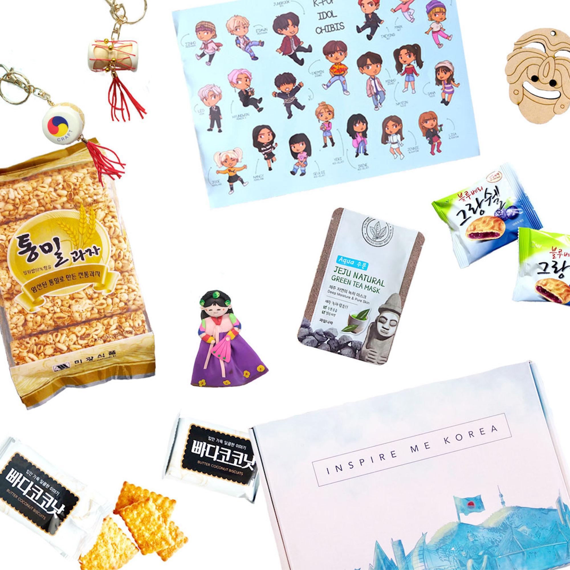 Inspire Me Korea - Korean Culture Subscription Box with Snacks, Beauty, K-Pop Merch, Souvenirs and Magazine: Vegan