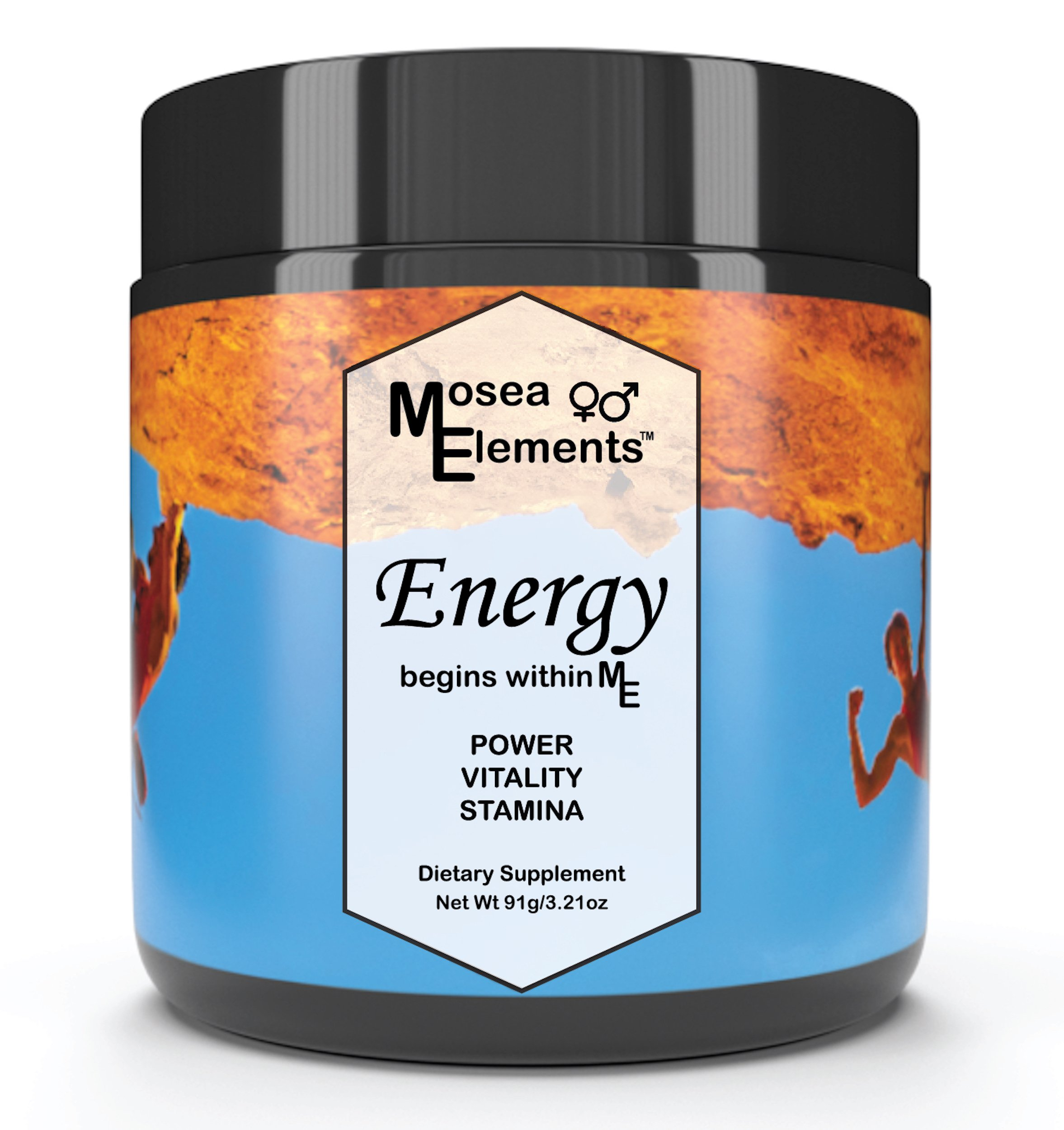 Mosea Elements Natural Energy Supplement -Vegan Pre Workout Powder For Women And Men All Natural Post Workout Recovery Drink Mix Add to Beverage or Smoothies with No Added Sugars or Fillers