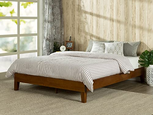 Zinus Wen 12 Inch Deluxe Wood Platform Bed No Box Spring Needed Wood Slat Support Cherry Finish, King