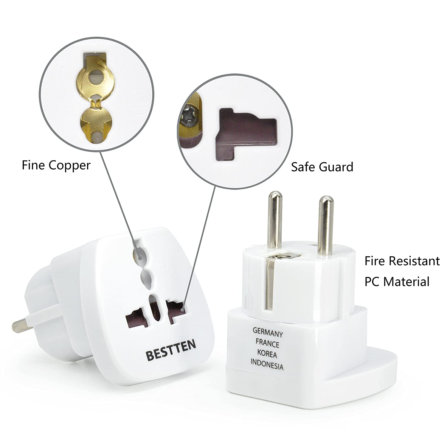 Travel Adapter For Europe Russia South Korea Egypt Iran Electrical Plug Outlet And Voltage Information Australia Indonesia See List Type F 2 Pin Grounded Three Prong Wall Tamper Resistant