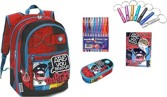 Mochila Escolar Go Pop Trapstar Extensible 5 gráficos Juegos Preciosos Estilo Americano + Estuche con Cremallera Ovalado + Diario + Llavero Silbato + Paquete de 10 bolígrafos de Colores: Amazon.es: Equipaje