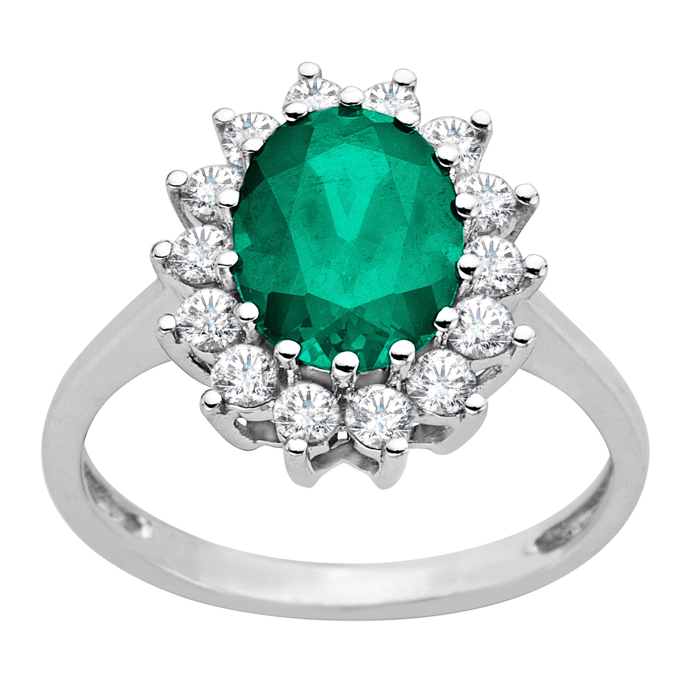 2 1/6 ct Created Emerald and White Sapphire Ring in 10K White Gold Size 7