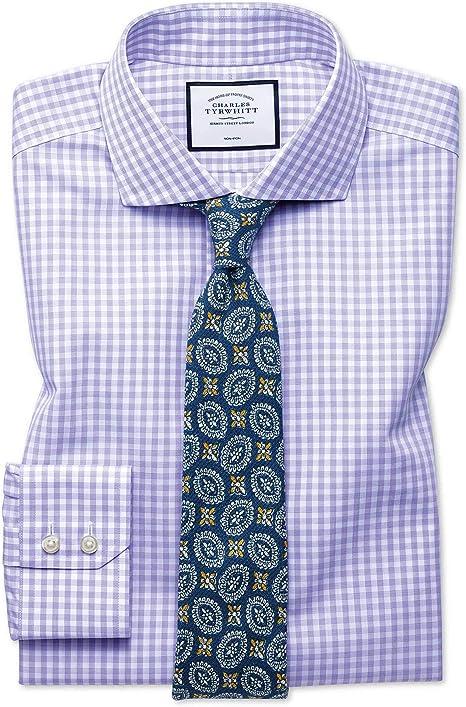Charles Tyrwhitt Camisa Natural Cool Morada Slim fit sin Plancha a Cuadros: Amazon.es: Ropa y accesorios