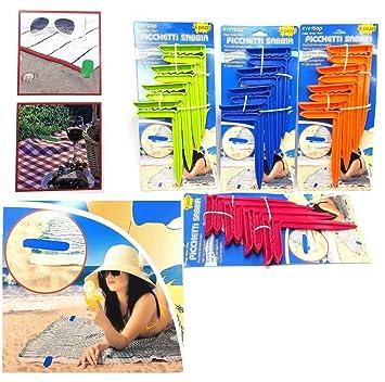 Takestop® Juego de 4 piezas piquetas toalla fermatovaglia toallas toalla playa Soporte Estaca playa punta terra Arena barrena Color aleatorio: Amazon.es: ...
