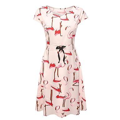 0b37315490 yangelo Women Flamingo Fun Flare Prints Flowy Dress A-line Cute Party  Cocktail Dresses(