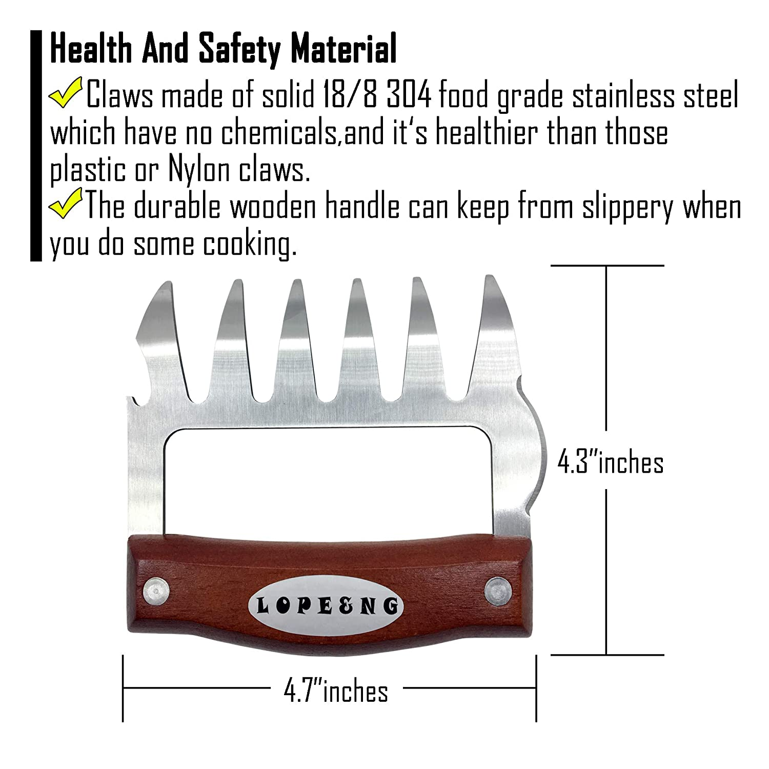LOPE & NG Meat Handler Shredder Claws Set of 2 - Wood Stainless Steel BBQ Pulled Pork Paws for Shredding Handing Carving Food