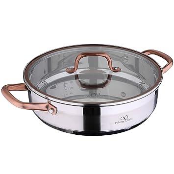 Bergner Infinity Chef Tartera de Inducción con Tapa de Vidrio 3.8 l, Acero Inoxidable, Bronce, 28 cm: Amazon.es: Hogar