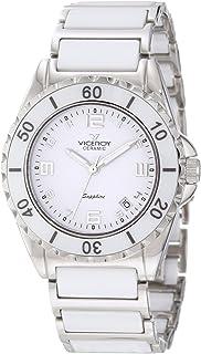 Viceroy Womens 47548-05 Ceramic & Sapphire Luminous White Ceramic And Stainless Steel Bracelet Date