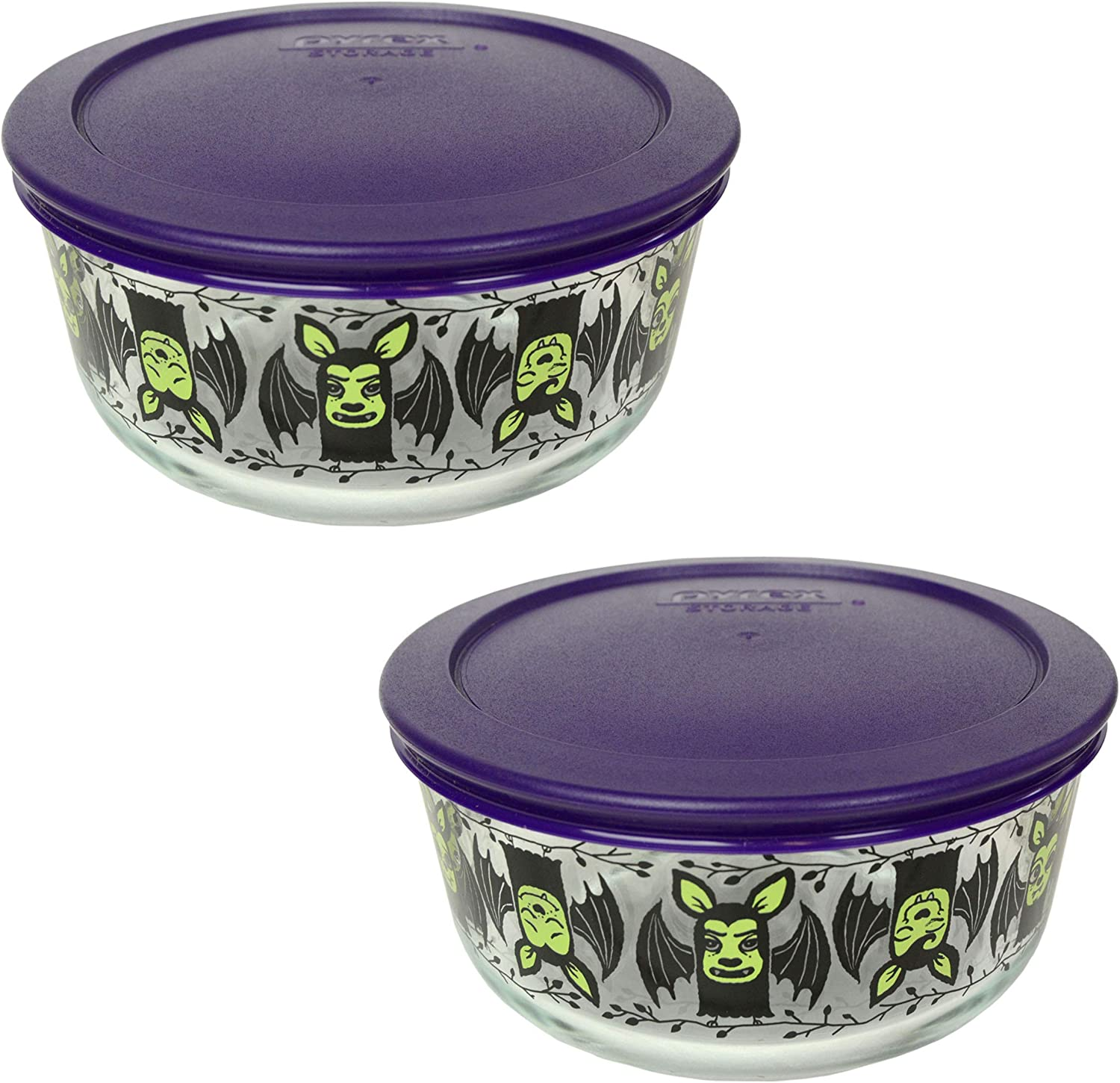 7201-PC Purple Plastic Lids Pyrex 7201 4 Cup Day of the Dead Mariachi Skeleton Glass Bowls /& 2 2