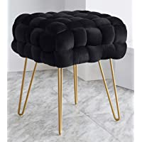 Ornavo Home Mirage Modern Contemporary Square Woven Upholstered Velvet Ottoman with Gold Metal Legs - Black