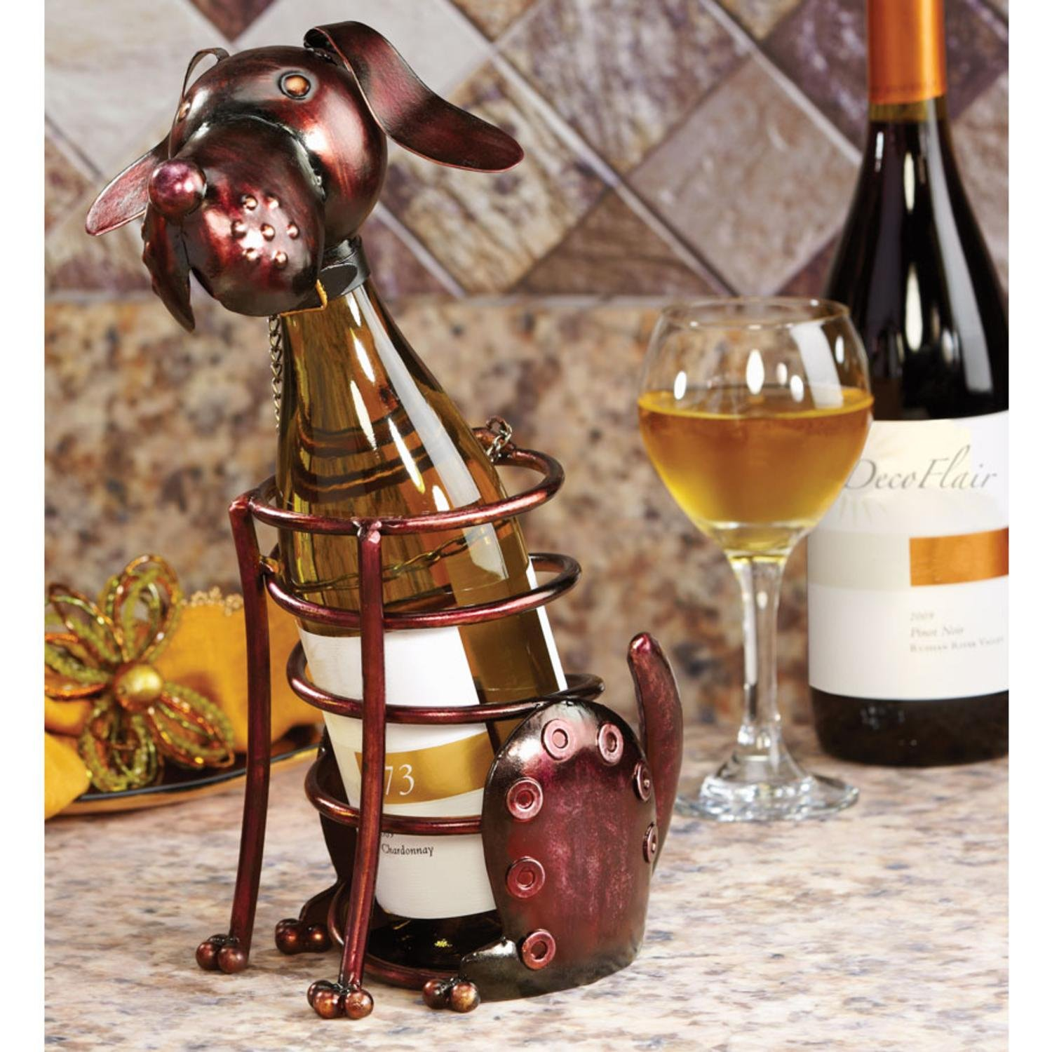 12'' Hand Sculpted Wrought Iron Dog Table Top Wine Bottle Holder