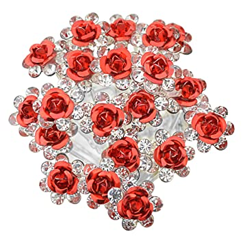 564389ccfe749 Rbenxia 20 Pcs Bridal Wedding Rhinstone Hair Pins 2.4 Inches Bridal Prom Clips  Rose U-