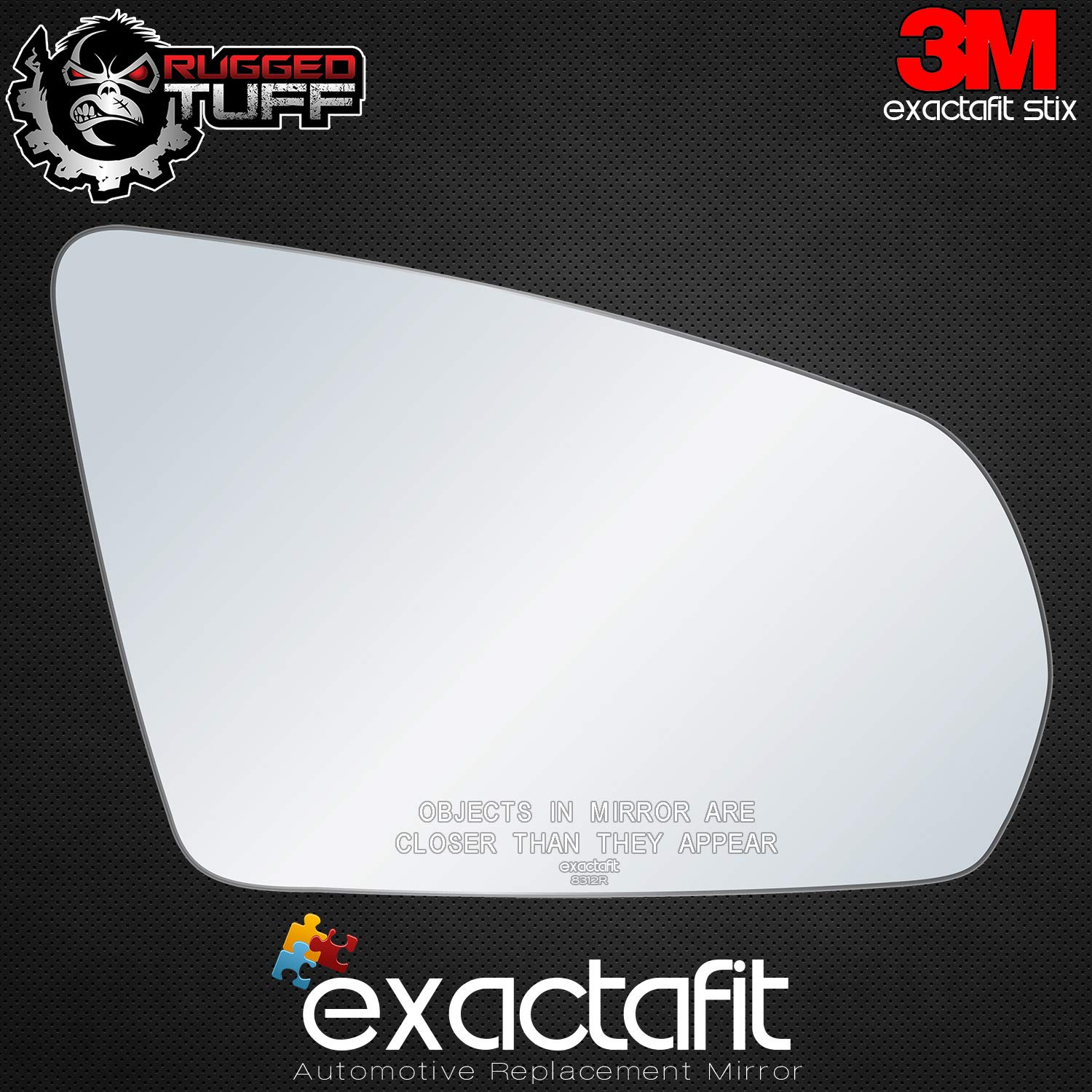 New Replacement Passenger Side Mirror Replacement Glass With Backing Compatible With 2008-2012 Chevrolet Chevy Malibu 2007-2009 Saturn Aura Sold By Rugged TUFF